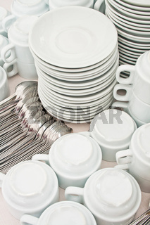 pile tea tableware