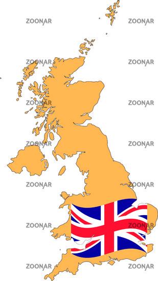 Großbritannien Karte Umriss.Foto Karte Und Fahne Von Grossbritannien Bild 4041590