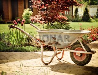 Retro wheelbarrow stored in the garden