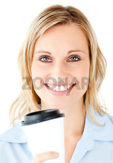 Portrait of a beautiful businesswoman holding a coffee