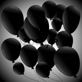 Black balloons  on grey background