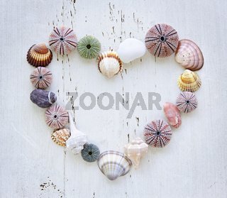 Heart of seashells and rocks