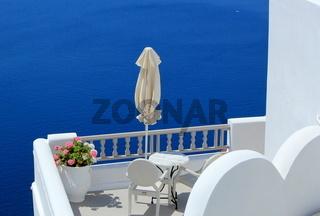 Balcony at the sea, Santorini, Greece