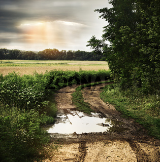 Wet countryside road with dark cloudy sky