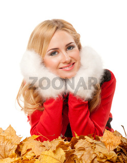 Young woman in red sweater
