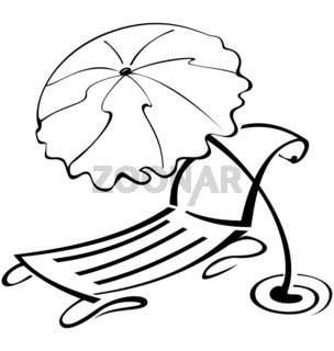 Black-and-white-contour-umbrella-and-beach-chair