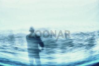 Eine Silhouette eines Fischers