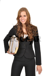 Sekretaerin traegt Akten