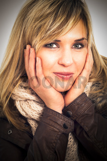 Beautiful woman in winter jacket