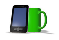 smartphone und tasse - 3d illustration