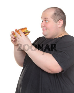 Fat Man Looks Lustfully at a Burger