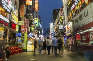shopping street in central seoul south korea