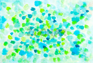 Abstract spring leaves watercolor design
