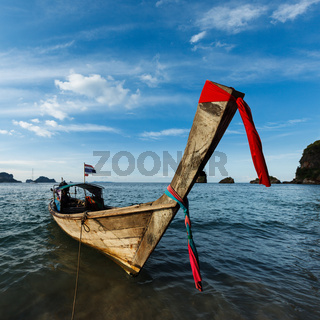 Thai Long tail boat on sunset