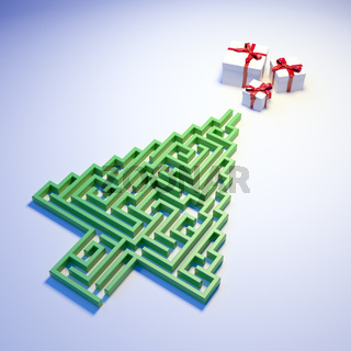 Christmas Tree shaped maze leading to gifts