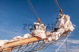 Gathered sail of a big sailing ship