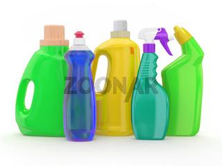 Different detergent bottles. 3d