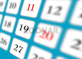 Colse up of calendar