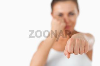 Female boxers left fist