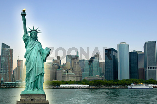 New York City with Statue Liberty