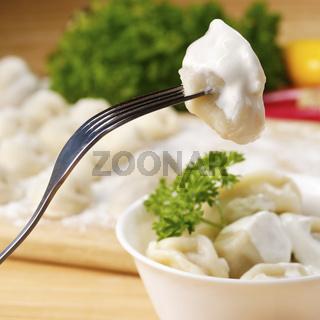 Fresh boiled meat dumplings
