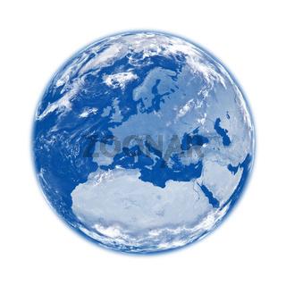 Europe on blue Earth