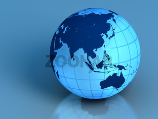 Earth on blue