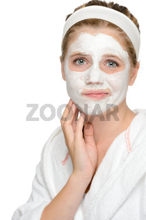 Anxious teenager girl applying face mask cleaning