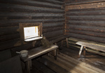 Interior of the Russian traditional wooden bath