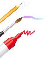 Bleistift, Pinsel und Marker