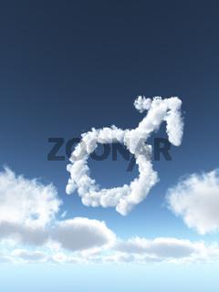 wolken bilden das symbol für männlich - 3d illustration