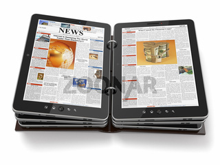 Newspaper or magazine from tablet pc. 3d