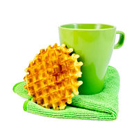 Waffles circle with a green mug