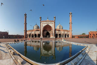 Indian landmark - Jama Masjid mosque in Delhi. Panorama