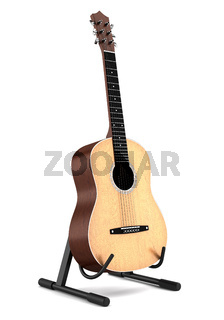 acoustic guitar on stand isolated on white background