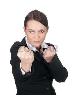 aggressive geschaeftsfrau