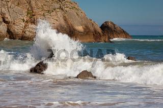 Coast in the beach of La Arnia, Liencres, Cantabria, Spain