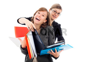 Happy busy business women team