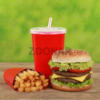 Double Cheeseburger Menü mit Pommes und Cola
