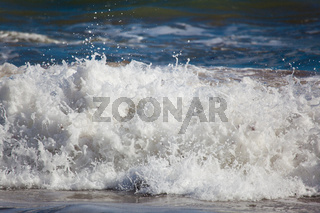 Waves in the beach of La Arnia, Liencres, Cantabria, Spain