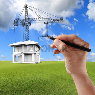 house building and cranes