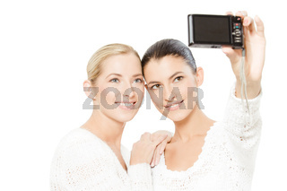 two young women taking pictures