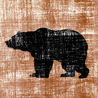 bear silhouette on old paper