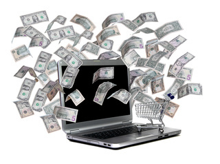 laptop with shopping cart and flying dollars