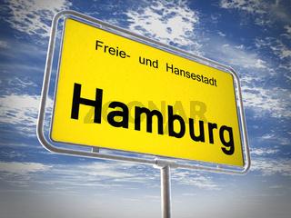 City limit sign of Hamburg