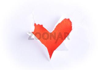 Broken paper with heart shape