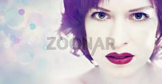 Red lipstick. Beauty white woman portrait