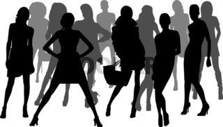 Fashion girls silhouettes