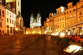 Prague city center at night.