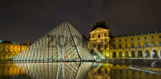 Louvre museum at night, Paris, France